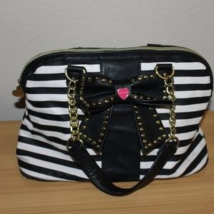 Betsey Johnson Black and White Striped Bow Purse